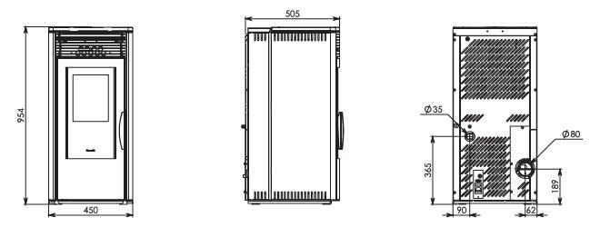 Stufa a pellet ad aria ventilata ravelli mod mavi 39 7 7 kw for Parametri stufa pellet ravelli