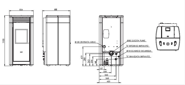 Stufa a pellet ventilata ravelli hrv 120 termo stufe 15 kw for Parametri stufa pellet ravelli